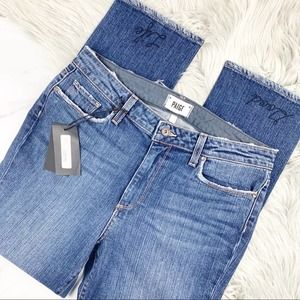 Paige High Rise Straight Crop Embroidered Denim 31